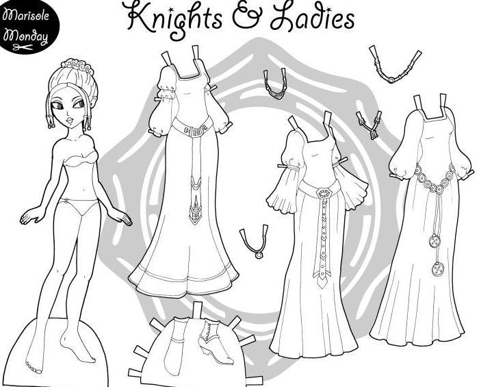 Поделки своими руками Кукла с одеждой для раскраски кукла ...